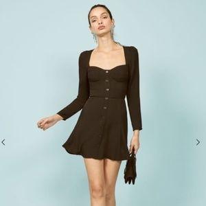 Reformation Milla Fit & Flare Mini Black Dress